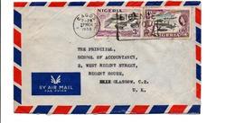 NIGERIA GB AFFRANCHISSEMENT COMPOSE SUR LETTRE POUR L'ECOSSE 1956 - Nigeria (...-1960)