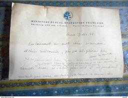 DOCUMENT AUTHENTIQUE TRIBUNAL MILITAIRE INTERNATIONAL DE NUREMBERG DELEGATION FRANCAISE Notes Privées 1945 - Documents Historiques