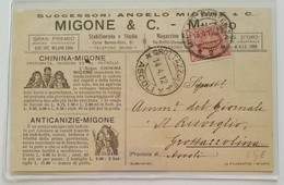 Cartolina Postale Successori Angelo Migone & C. Per Grottazzolina - 14/04/1912 PERFIN - 1900-44 Vittorio Emanuele III