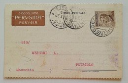 Cartolina Postale Cioccolato Perugina Per Petriolo - 26/1/1926 PERFIN - 1900-44 Vittorio Emanuele III