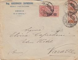 A/6 - BUSTA - STORIA POSTALE - ESPRESSO - DA GENOVA A VARAZZE - 1900-44 Vittorio Emanuele III