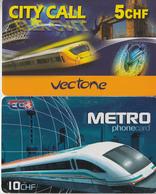 SWITZERLAND - PHONE CARD - PRÉPAID - 2 X TRAIN & METRO  *** - Treni