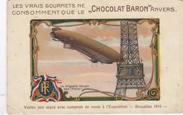 BRUXELLES / BRUSSEL / EXPO 1910 / LE DIRIGEABLE  / BALLON / TOUR EIFFEL / CHOCOLAT BARON - Wereldtentoonstellingen