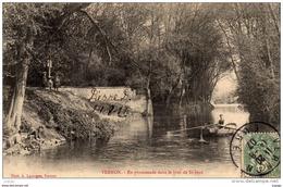 VERNON En Promenade Dans Le Bras De St-Jean Carte écrite En 1907 Belle Oblitération - Vernon