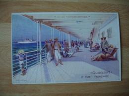 Paquebot Guadeloupe Pont Promenade Illustrateur - Piroscafi