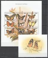 PK298 TANZANIA FAUNA BUTTERFLIES OF THE WORLD 1KB+1BL MNH - Butterflies