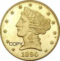 "United States * 5 Dollars ""Half Eagle Coronet Head"" 1890 Au * ⌀ 21.6 Mm * KM# 101 * REPRODUCTION - 5$ - Half Eagles - 1866-1908: Coronet Head (Testa Coronata)"