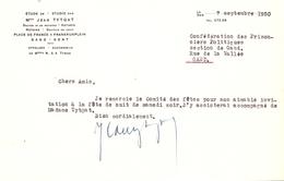 Brief Lettre - Notaris Jean Tytgat - Gand Gent - 1950 - Oude Documenten