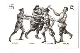 ***  Illustrateur - PROPAGANDE ANTI NAZIS -  Hitler Goering La Pologne Staline  - Excellent état - - War 1939-45