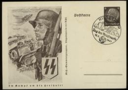 P1022 - DR GS Postkarte Waffen SS Soldat: Gebraucht Mit Tag Der Briefmarke Sonderstempel Hildesheim 1941 - Germania