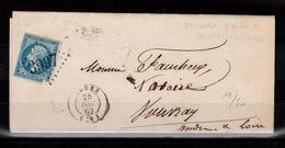 RR - Utilisation Precoce Du GC : YV 22 (défectueux) Oblitere GC 3997 De Tours Sur Lettre Du 25 Decembre 1862 - Marcophilie (Lettres)