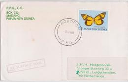 Papua New Guinea Kokopo Surface Mail Cover To Leidschendam Yellow Butterfly Stamp Lettre Papouasie Timbre Papillon Jaune - Vlinders