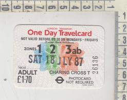 Bus Ticket London Transport 1987 Day Travelcard - Europe