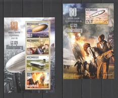 ST2136 2016 MOZAMBIQUE MOCAMBIQUE AVIATION ZEPPELINS HINDENBURG CATASTROPHE 1KB+1BL MNH - Zeppelins