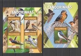 ST2158 2016 MOZAMBIQUE MOCAMBIQUE FAUNA BIRDS ANDORINHAS 1KB+1BL MNH - Other