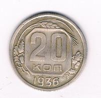20 KOPEK  1936  CCCP  RUSLAND /9216/ - Russie