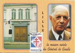 CARTE POSTALE TIMBRE , FDC Premier Jour De La Flamme : LA MAISON NATALE Du Générale De Gaule . LILLE 1990 - FDC
