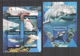 ST2173 2016 MOZAMBIQUE MOCAMBIQUE MARINE LIFE KILLER SHARKS 1KB+1BL MNH - Marine Life