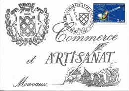 CARTE POSTALE TIMBRE , FDC Premier Jour De La Flamme : Xe FETE DU COMMERCE ET DE L'ARTISANAT . 59 MOUVAUX - FDC