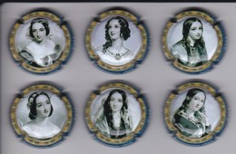SERIE COMPLETA DE 6 PLACAS DE CAVA DE MUJERES DE EPOCA (CAPSULE) WOMAN VINTAGE - Placas De Cava