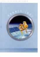 """FRANCE - INDE 2015 : Doc. Philatélique Officiel 4 Pages """" 50 ANS DE COOPERATION SPATIALE """". N° YT 4945 4946 + INDE. DPO - Emisiones Comunes"""