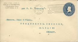 ENTIER POSTAL 1902 A DESTINATION DE STRASBOURG PAR STEAMER LUCANIA - Poststempel