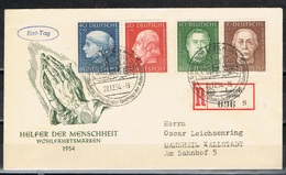 DO 15414 WEST DUITSLAND FDC HELFER DER MENSCHHEIT 1954 COTE € 175,00 ZIE SCAN - FDC: Buste