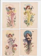 CPA Série De 4 Cartes Art Nouveau Femme Women Illustrateur Saisons Non Circulé - Juegos Y Juguetes