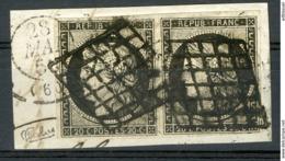 N°3a Paire 20ct Noir Sur Blanc, Sur Un Petit Fragment. Cote 150 €. Oblitéré Grille. Signé Calves - 1849-1850 Cérès