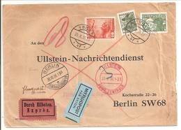 Österreich MiF Luftpost Eilboten Wien>Berlin Zentralflughafen 1936-Mi.478 +569 +599 - 1918-1945 1. Republik