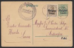 """Guerre 14-18 - EP Au Type 5ctm Vert + OC11 Obl Simple Cercle """"Heverle"""" (1917) + Censure Löwen Vers Antwerpen. - Interi Postali"""