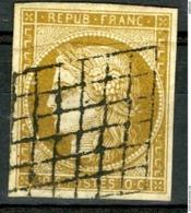 N°1 10ct Bistre Cote 350 €. Oblitération Grille. Voir Description - 1849-1850 Ceres