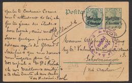 """Guerre 14-18 - EP Au Type 5ctm Vert + OC2 Obl Simple Cercle """"Moll"""" + Censure Militaire Vers Scheveningen - German Occupation"""
