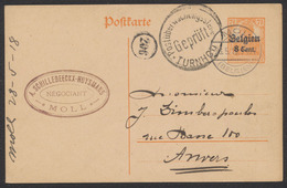"""Guerre 14-18 - EP Au Type 8ctm Orange Obl à Pont """"Moll"""" (1918) + Censure De Turnhout Vers Anvers / Négociant. - Enteros Postales"""