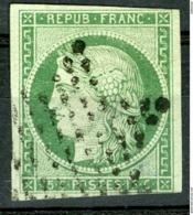 N°2 15ct Vert Cote 1100 €. Oblitération étoile. Signé Scheller / Aminci - 1849-1850 Ceres