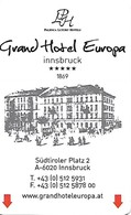 Austria: Grand Hotel Europa, Innsbruck - Hotelkarten