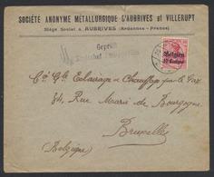 """Guerre 14-18 - OC3 Sur Lettre (Aubrives) Obl à Pont """"Givet"""" (1915) + Censure De Philippeville Vers Bruxelles. TB - [OC1/25] Gov. Gen.."""