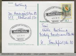 GERMANIA - DEUTSCHE - Postkarte - FRANKFURT  -  BERLINER STRASSE  -  SHOPPING -  BAR RISTORANTI NEGOZI  LUSSO - Francobolli