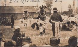 Foto-AK British Columbia Indianischer Masken-Tanz, HAGAN 4.11.1910 Nach Aachen - Costumes