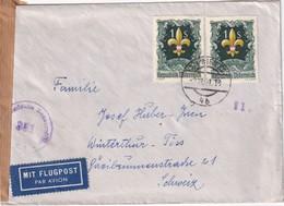 AUTRICHE  1951 PLI AERIEN CENSURE DE WIEN POUR WINTERTHUR-TÖSS - 1945-.... 2nd Republic