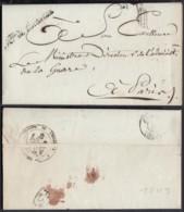 FRANCE LETTRE DATE DE PARIS 03/10/1809 GRIFFE MINISTRE DE L INTERIEURE VERS PARIS (VG) DC-5204 - Poststempel (Briefe)