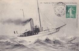 """Yacht Le """" Pacifique"""" Quittant Le Havre Circulée En 1907 - Voiliers"""