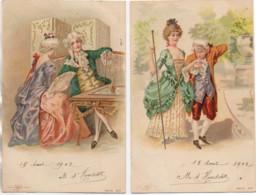 Couple à La Cour Du Roi LOT De 2 Cartes (genre Viennoise) - Phantasie