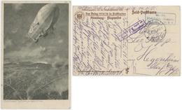 Zeno Diemer, Ein Zeppelin über Lüttich Liège Feldpostkarte Der Krieg 1914/16 Censure St.Ludwig,St.Louis  S.B. Kleinbahn - Autres