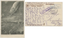 Zeno Diemer, Ein Zeppelin über Lüttich Liège Feldpostkarte Der Krieg 1914/16 Censure St.Ludwig,St.Louis  S.B. Kleinbahn - Belgien