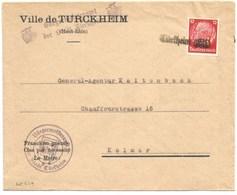 SK619 - TURKHEIM  - 1940 - TURCKHEIM - Griffe Caoutchouc Provisoire - Gummistempel - Haut Rhin - - Marcophilie (Lettres)
