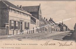 ZEELAND 1913 DORPSTRAAT VAN AF DE PASTORIE TE SCHOONDIJKE / MOOIE GEVELTJES EN TRAMBAAN - Sluis
