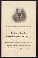Faire Part Chanoine François Petetin Pouligny 1844 Besançon Ornans - Obituary Notices