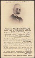 Faire Part Albert Lefrancois Professeur Lycée Champollion Beaurepaire Isère - Obituary Notices