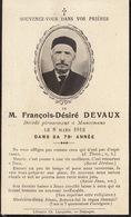 Faire Part Francois Devaux Mancenans 1912 Photographie - Obituary Notices